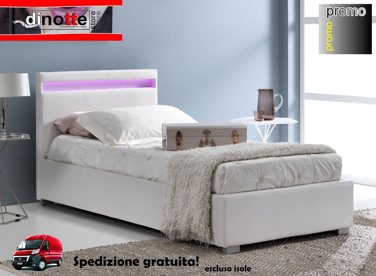 LETTO SINGOLO SILVIA RIVESTISTO IN SIMILPELLE CON CONTENITORE E BANDA LED  LUMINOSA RE/105/BI