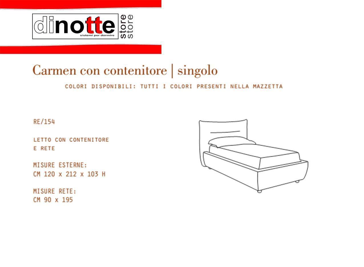 Di Notte Store. LETTO SINGOLO IMBOTTITO CARMEN CONTENITORE RE/154