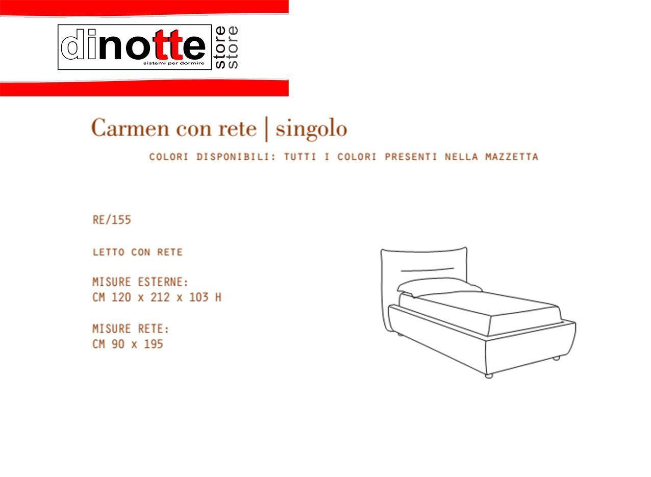 Di Notte Store. LETTO SINGOLO IMBOTTITO CARMEN CON RETE KIT RE/155