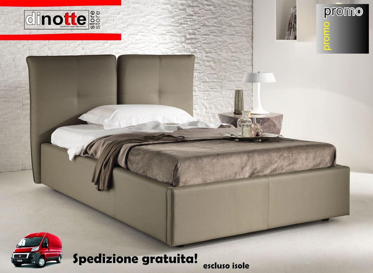 Di notte store letto piazza e mezza imbottito daniela con rete kit re 163 - Kit letto contenitore ...