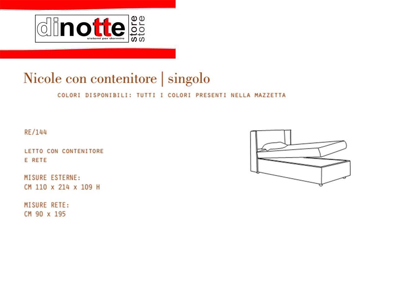 Di Notte Store. LETTO SINGOLO IMBOTTITO NICOLE CONTENITORE RE/144