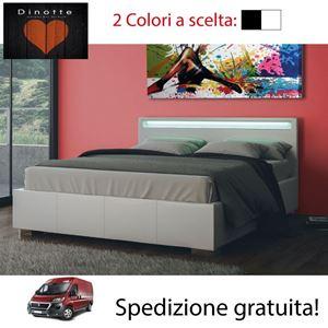 Immagine di Letto Contenitore Matrimoniale LED MINNY Ecopelle 2 Colori A Scelta