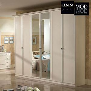 Immagine di Armadio MCS Ninfea ARM048 6 Ante Scorrevoli con Specchio in Legno Beige/Noce