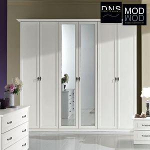 Immagine di Armadio MCS Dafne ARM053 6 Ante in Legno con Specchio Bianco Frassinato