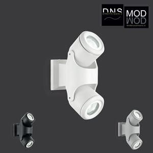Immagine di Faretti a muro da Esterno Ideal Lux XENO 2 luci in alluminio e diffusori inclinabili in vetro bianco - nero - grigio